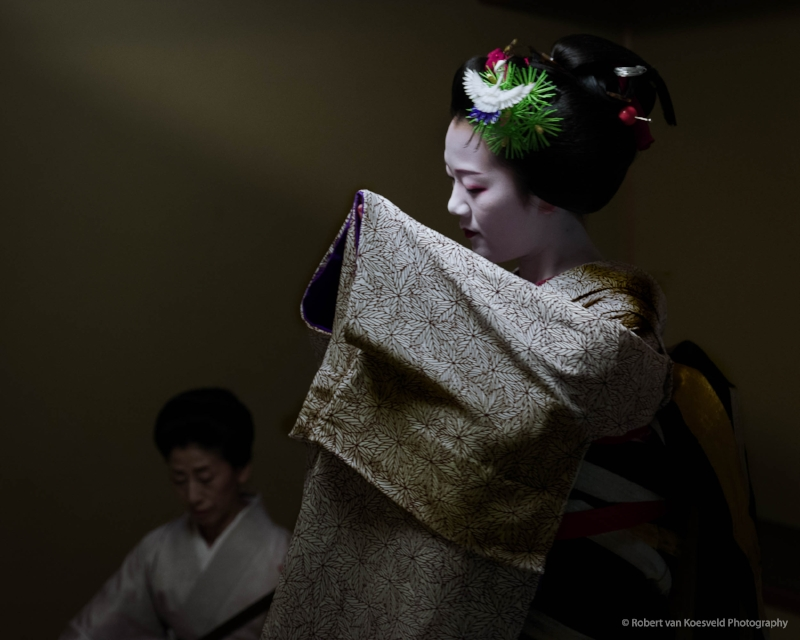 Tomitae Becoming Geiko.   I have photographed Tomitae for over three years. Here she is dancing a special and very moving piece only performed for two weeks prior to her debut as a full Geiko.
