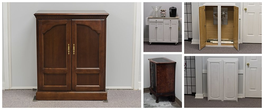 (L) The entertainment center.  It took 3 men to put it in my car. (Top left to right) The refreshment center from home and the bubbler hiding in the cabinet. (Bottom left to right) The art deco cabinet in the bathroom and the bubbler hidden by closed doors.
