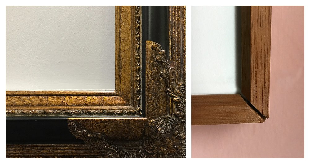 (L) A frame with decorative fillet over the joined corners. (R) A mitered corner frame that has hung in the same place for nearly 30 years.  Gravity is pulling the joined corners apart.