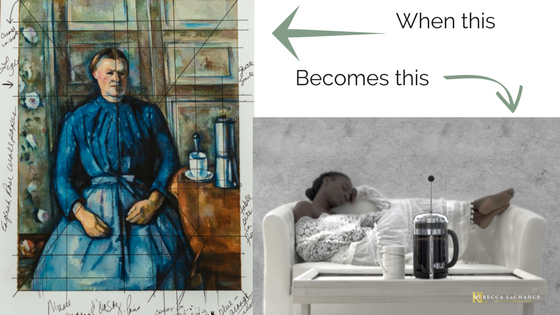 "Left: ""Woman with a coffee pot"" by Paul Cézanne is the artwork used to create new works for an exhibition scheduled in January. Right:  ""Contrairement à Cézanne"" (c) Rebecca LaChance, 2017, Thurmont, MD.  Model:  Gazelle Powers; Hair/Makeup: Gazelle Powers; Concept: Rebecca LaChance;  Stylist: Rebecca LaChance"