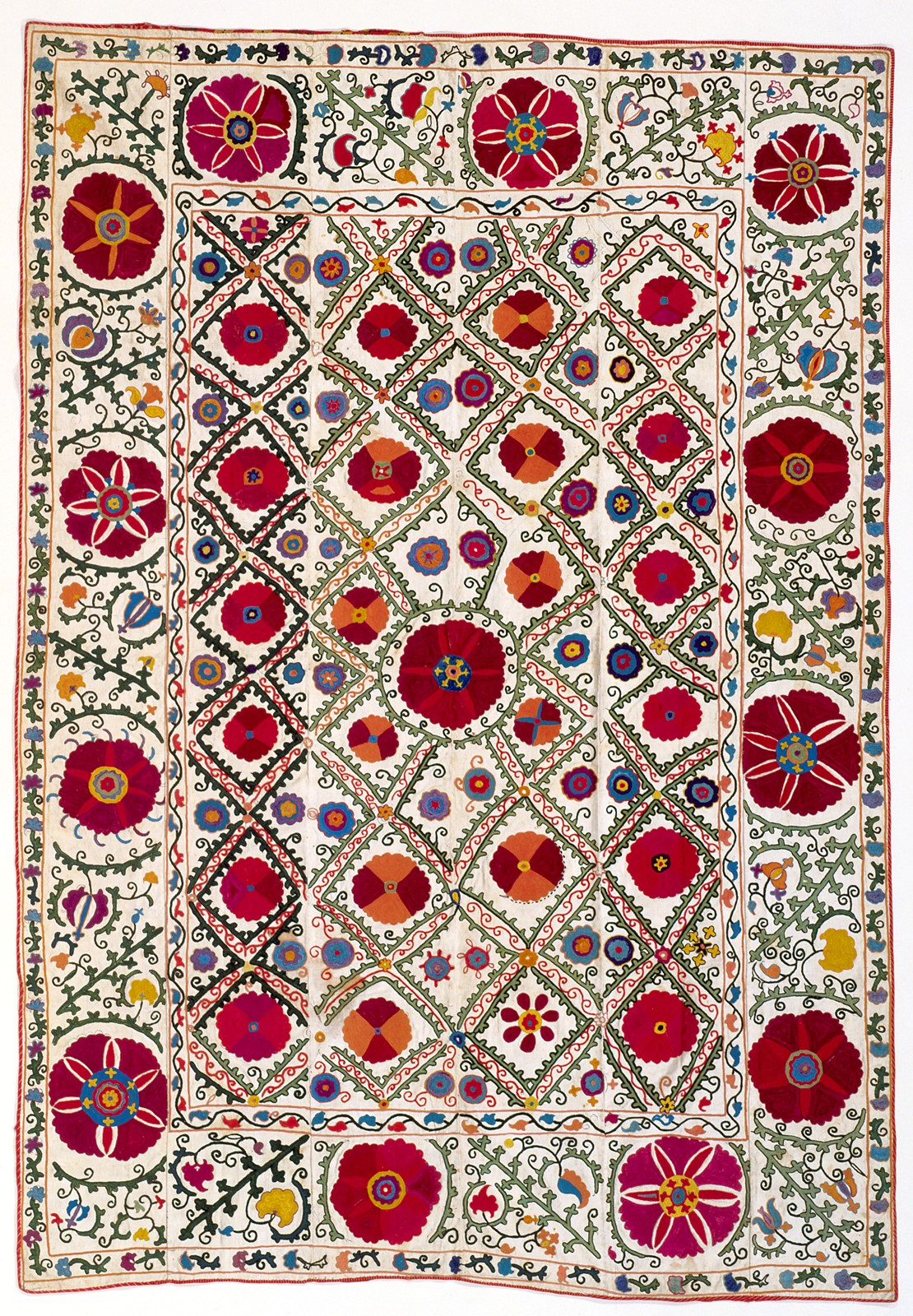 tweed-eyes: ceremonial hanging (suzani) nationality  Uzbek creation date  about 1875