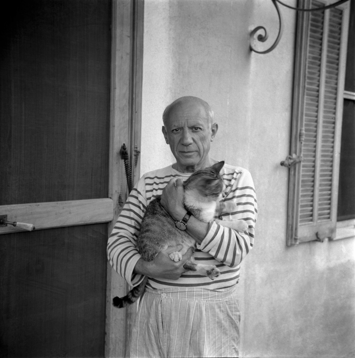 micaceous: Pablo Picasso and his cat in his house in Vallauris, 1954