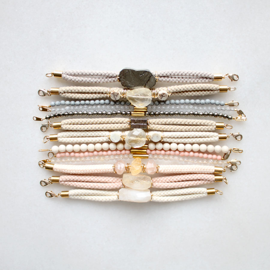 kathrynblackmore :     Bracelet samples with pyrite, lemon quartz, citrine and sunstone