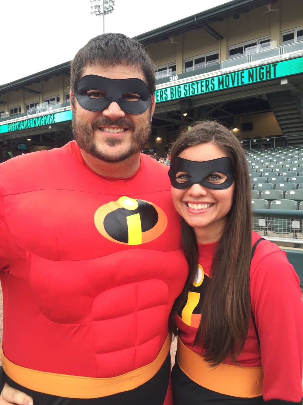 Anna Moorman and her husband, Eric, at BBBS Superheroes in Disguise night at the Dragon's Field