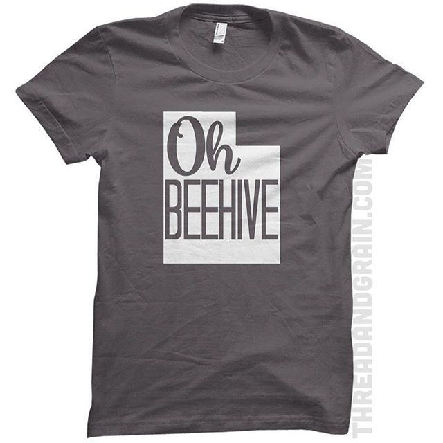 """I couldn't help myself with this #Utah design. It needed to be done. And I also need to go watch Austin Powers soon. Between """"fricken laser beams"""" and this shirt, apparently it's necessary. (Ps I learned today that people from Utah are called Utahns. And not Utanians.) 😂💋 #threadandgrain #ohbeehive #beehivestate"""