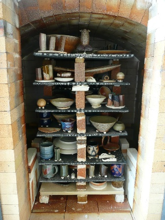 Fired work in the soda kiln