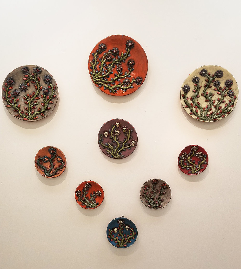 The grouping of platters looks great on the wall.