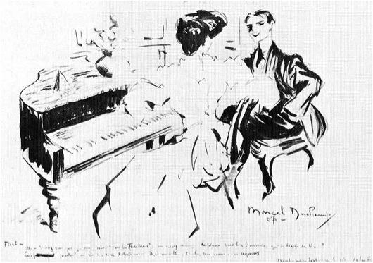 Marcel Duchamp, Flirt (Flirtation), 1907.