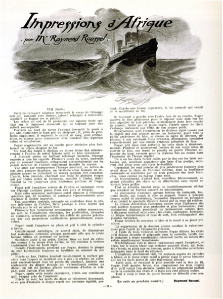 Serialized publication of the novel Impressions d'Afrique in Le Gaulois du Dimanche, 1909.