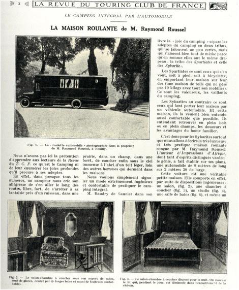"""""""La Maison roulante de M. Ramond Roussel"""" (M. Roussel's motorized caravan), La Revue du Touring Club de France, no. 381, 1926."""