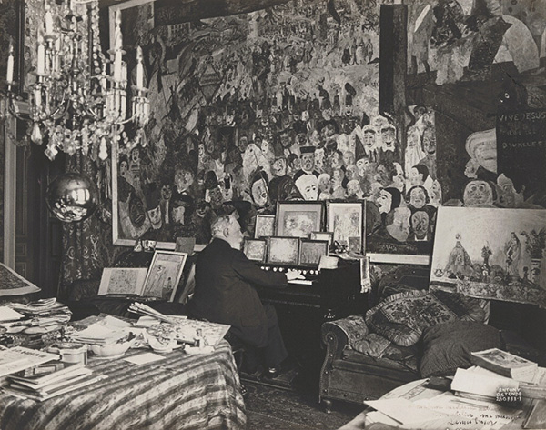 Masks and music: James Ensor Playing the Harmonium in His Music Studio, July 28, 1933