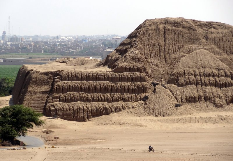 Huaca del Sol. Northern Coast of Peru. Located at the center of the Moche capital city, the temple appears to have been used for ritual, ceremonial activities and as a royal residence and burial chambers.