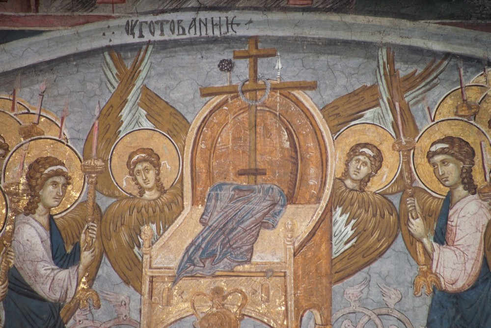 Throne of Preparation, part of a Fresco of the Last Judgment (1300's, Serbia)
