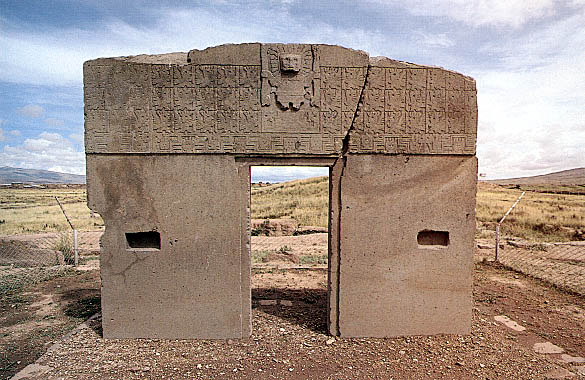 "Monolithic doorway ""Gate of the Sun"" at Tiahuanaco, Bolivia"
