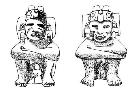 (left). Two-Horned God sculpture from Offering 1, Templo Mayor. After Garcia Cook 1978: 24. Figure 4 (right). Two-Horned God sculpture from Offering 11, Templo Mayor. After Association Francaise d'Action Artistique 1981: 66.