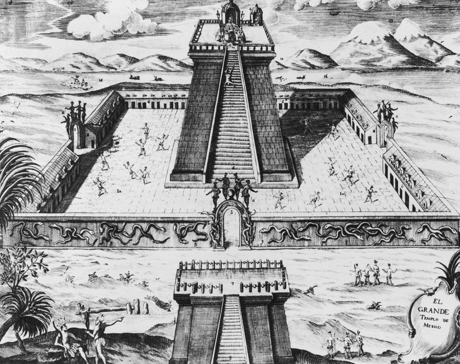 The Templo Mayor at Tenochtitlan, from 'Historia de Nueva Espana', 1770 (engraving)