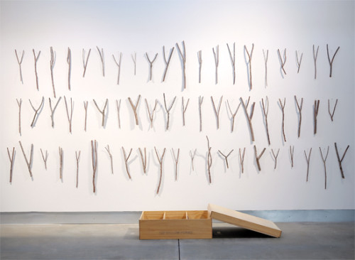 Robert Kinmont, 127 Willow Forks (This is Who I Am), 2010. Willow, pine, birch plywood, and maple, 84 x 153 x 45 in. Courtesy of the artist and Alexander and Bonin Gallery, New York. (Photo: Wilfred J. Jones)