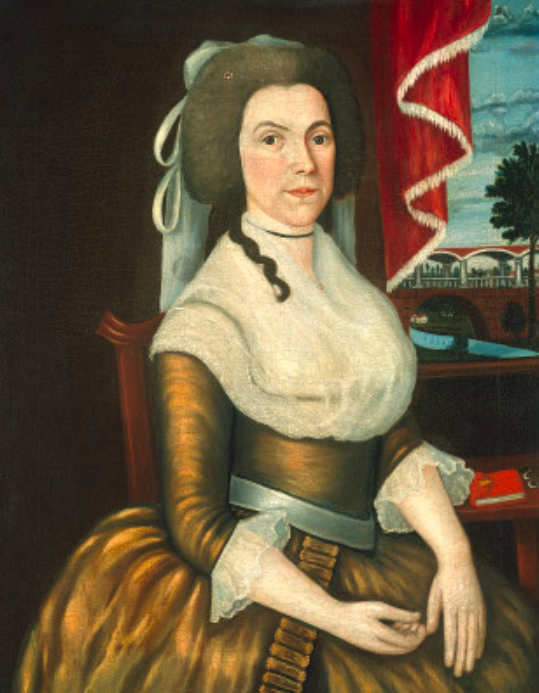 Mrs. Elizabeth Noyes Denison c. 1790 Oil on canvas, 86.7 x 68.7 (34^8 x 17 Vie) Gift of Edgar William and Bernice Chrysler Garbisch  PORTRAIT PAINTING FLOURISHED in Connecticut after the Revolution due to the emergence of new roads, towns, and a growing prosperous middle class. As these portraits suggest, sitters were interested in recording for posterity a detailed depiction of their life, possessions, and environment. Captain Denison is shown at his writing table in front of a landscape that probably represents his home and property in Stonington, Connecticut. In contrast, the background landscape in Elizabeth Noyes Denison is imaginary, probably chosen to give the sitter aristocratic status by evoking an eighteenth-century European estate.  Captain Elisha Denison was baptized on 3 November 1751 and died in 1841. On 26 April 1771, he married Elizabeth Noyes Denison (1750-1831) of Stonington, Connecticut, one of eight children of James Noyes and Grace Billings. They had four children, whose portraits were also executed by The Denison Limner: Elizabeth, Matilda, Elisha, and Phebe. Elisha Denison may be the captain who commanded a Cornet of Horses for the eighth regiment in May of 1775. One history mentions that Captain Denison was appointed to collect money for the families of officers and soldiers of the Continental Army during the Revolutionary War.  In Captain Denison's portrait the artist offers a fresh, straightforward likeness of a self-satisfied, comfortable citizen of the newly independent nation. His wife's  tight-lipped, stern expression and direct gaze reveal a strong personality. The painter worked in a controlled, linear manner, carefully filling the canvases with objects and large areas of bright color. As in the other portraits by The Denison Limner, Captain and Mrs. Denison's figures are anatomically awkward, but their faces show a greater degree of naturalism. Although it is not clear how much communication there was among the colonial artists of Connecticut, it is certain that by the last two decades of the eighteenth century many knew each other's work. Similar techniques, compositions, and poses appear in their paintings:  The individualized, biographical landscape background seen in Captain Elisha Denison, for instance, was perfected by Ralph Earl (1751-1801) and is found in other Connecticut paintings such as Winthrop Chandler's portrait of Captain Samuel Chandler