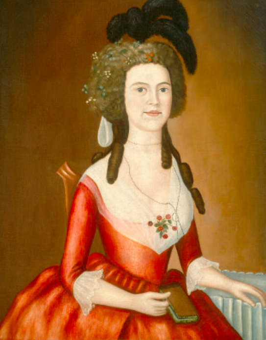 Elizabeth Denison c. 1790 Oil on canvas, 85-4X 67.6 (33s/8 x i65/s) Gift of Edgar William and Bernice Chrysler Garbisch  THE PROVENANCE OF THIS PORTRAIT suggests that its subject is Elizabeth Denison (1773-1849), the eldest child of Captain Elisha Denison and Elizabeth Noyes Denison. In 1793 the younger Elizabeth married Nathaniel Ledyard, in whose family the portrait descended. In style and dimensions the painting corresponds to the other five Denison family portraits.   This painting and the portrait of Miss Denison (1980.61.18) have the simplest compositions of the group, lacking the detailed landscape background that appears in the other Denison portraits. Elizabeth Denison is seated in a Chippendale chair, identical to the one in the portraits of her parents and sister. Her arm  rests on what appears to be a dressing table, draped with fabric that realistically gives way under the weight of her hand. The flowers that adorn her head and bodice are likely made of linen, as described in at least one late eighteenth-century account.  Although there is little penetration of character in this portrait, the artist has carefully rendered Elizabeth's facial features and attempted to give them a sense of volume. Her clothing, however, is painted less distinctly with broad, somewhat loose strokes, despite the inclusion of drapery folds and the attempt to show diaphanous material. Anatomical features such as her shoulders, breast, and hands are awkwardly depicted.  This portrait, formerly titled Lady with a Plumed Headdress,  has been published as a youthful work by Gilbert Stuart. This attribution apparently resulted from the Denison family's confusion between the similar sounding name of Joseph Steward and his more illustrious counterpart.