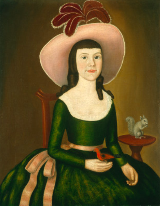 "Miss Denison of Stonington Connecticut (possibly Matilda Denison) c. 1790 Oil on canvas, 87.7 x 68.7 (34 1/2 x 27) Gift of Edgar William and Bernice Chrysler Garbisch  ALTHOUGH SHE WAS PREVIOUSLY identified as Phebe Denison, genealogical records and the apparent age of the sitter suggest that this may be a portrait of Matilda, Phebe's older sister.  Matilda, the second child of Captain Elisha Denison and Elizabeth Noyes Denison, was born on 5 September 1776 and died on 13 January 1842. In 1796 she married Samuel Hurlbut, a ship chandler, ship owner, and merchant, and the couple had ten children. Matilda's sister Phebe, Captain and Elizabeth Denison's youngest child, was born on 22 April 1781 and died 31 December 1853. She married W J. Robinson, with whom she resided in Morristown, New Jersey. They, too, had ten children.  As was common in eighteenth-century portrait painting, the sitter is pictured with her pets, a bird and a squirrel. The long-eared squirrel is, however, a species native to Europe, not America. It is likely that this  animal was copied from an eighteenth-century emblem book. One such volume describes the meaning of such a symbol: ""A Squirrel taking the Meat out of a Chestnut. Not without Trouble. An Emblem that—Nothing that's worthy having can be obtained without Trouble and Difficulty.""   Miss Denison appears to have been singled out, among her siblings, for this special reminder of the virtues of patience. While Miss Denison's figure is awkwardly drawn, her expression, with its direct gaze and hint of a smile, along with her intriguing plumed hat make this an attractive example of early American portraiture. The plain background helps to emphasize the decorative composition, concentrating on several sweeping curves, accentuated by the linear style and bright, contrasting colors."