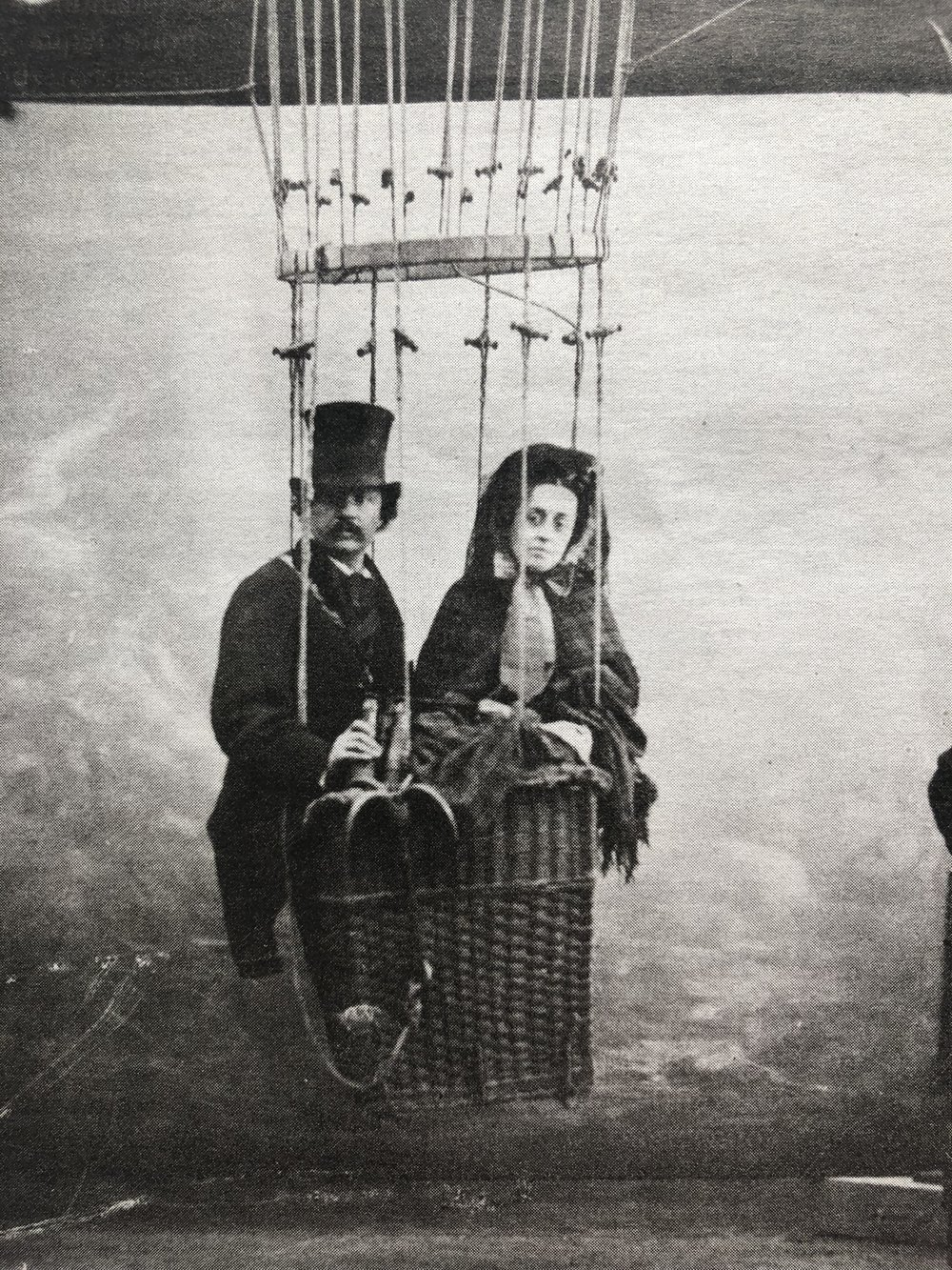 Felix Nadar and his wife, Ernestine, in a baloon, circa 1865