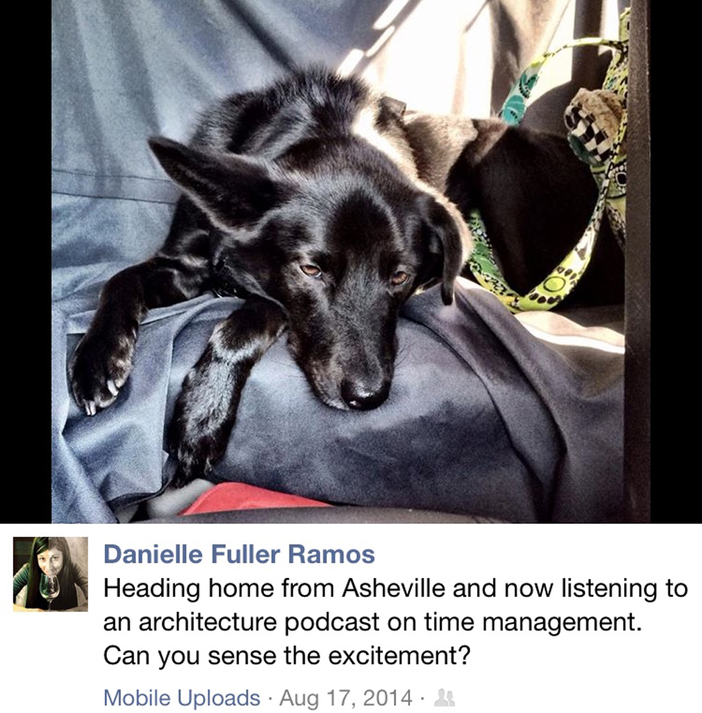 This is a Facebook post that Danielle made in the middle of one of those riveting road trip podcasts.