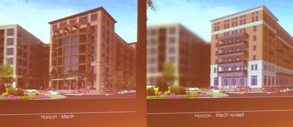 Horizon District Project - Current design on the left.  DPZ proposal on the right.