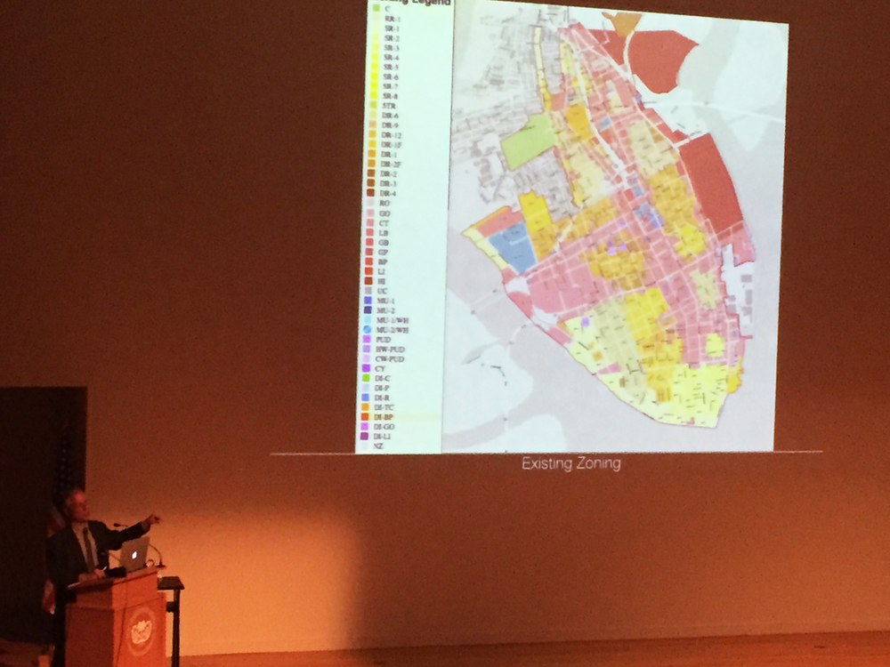 Duany poking fun at the City of Charleston Zoning Map.