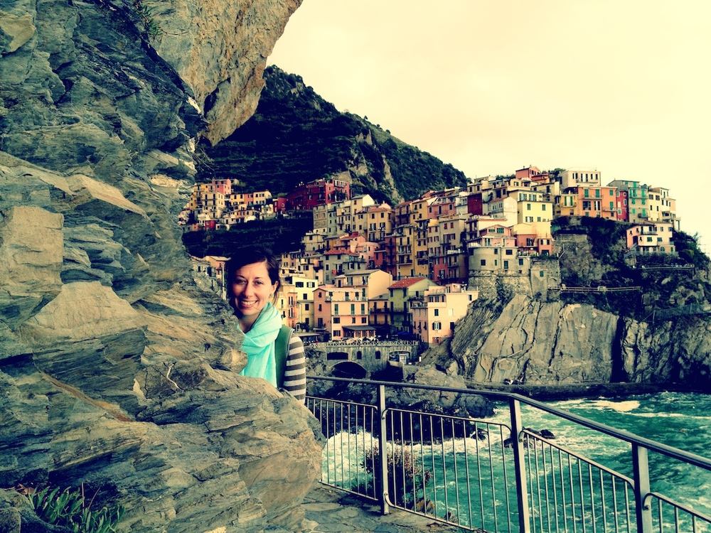 My beautiful bride with Manarola in the background.