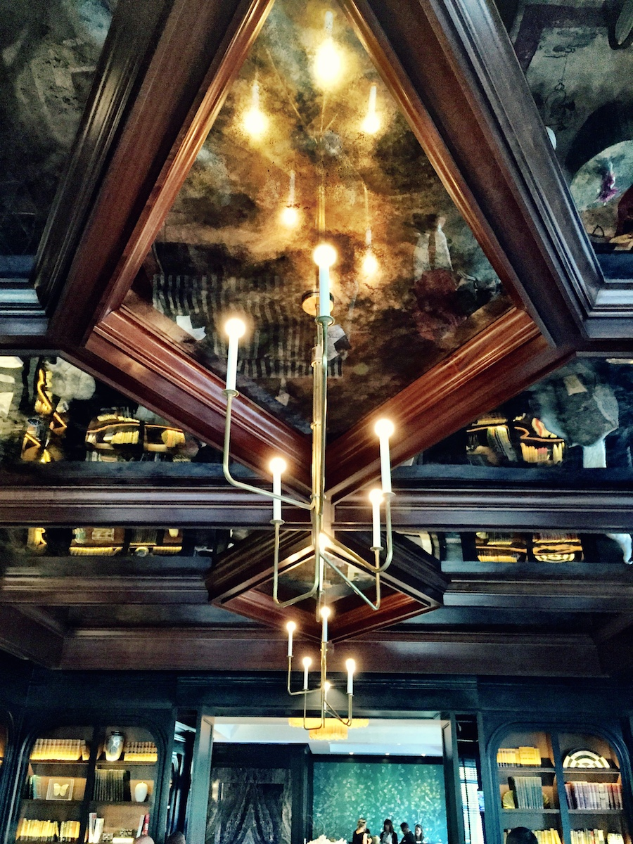 One of the coolest things about the lounge: The Ceiling.  Clad with antique mirrors and mahogany beams.  How did we hang giant antique mirrors from the ceiling?  I can't give away all of the secrets!