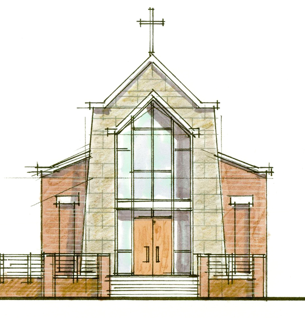 One of the initial concept sketches for a chapel for the Catholic Diocese of Charleston.