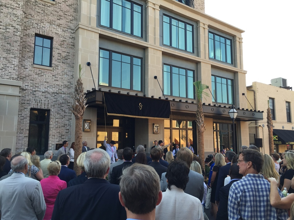 The grand opening party for the Spectator Hotel.  Unveiling the sign.