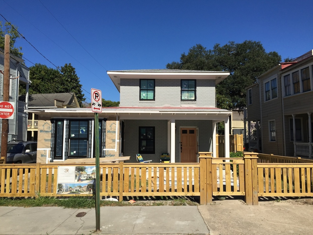 Week 10 progress photo.  We are now on the home stretch in the transformation of that ugly house into a home that we can be proud of.