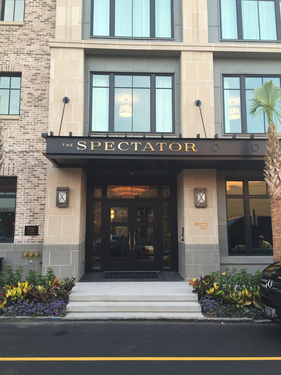 At The Spectator Hotel, we used cast stone for the veneer and the horizontal cornices are GFRC.  We got the GFRC manufacturer to match the cast stone color.  Can you tell the difference?  This project also uses a green coated zinc panel around the windows.