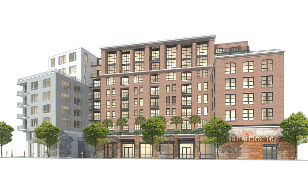 A rendering of the approved design.  The biggest change was that retail was added at the ground floor in the area of the historic brick wall.  The facade was tweaked to have more order and a more pleasing rhythm.