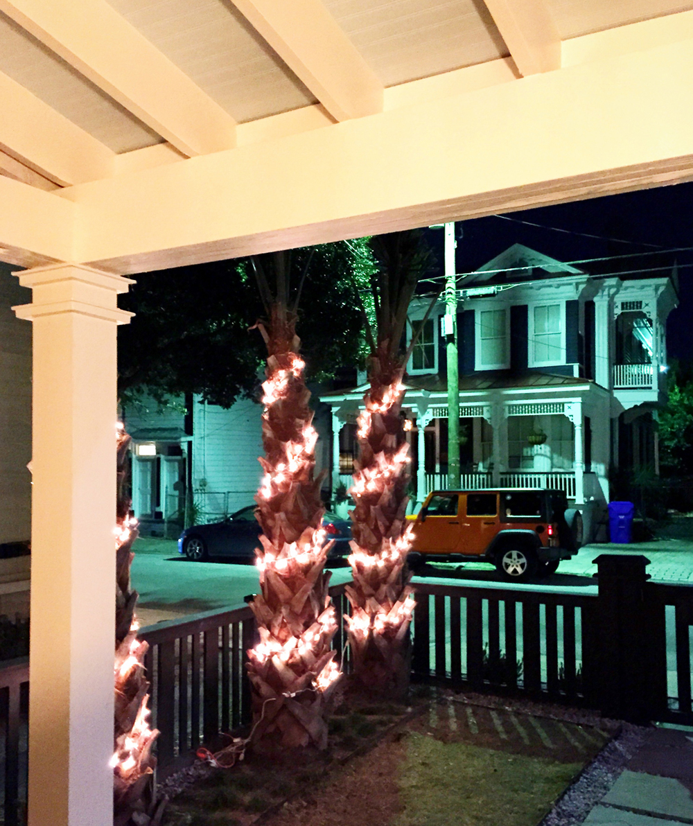 Of course we put Christmas Lights on our Palmetto Trees for a recent party we had.  The ceiling is bead board by James Hardie painted haint blue.