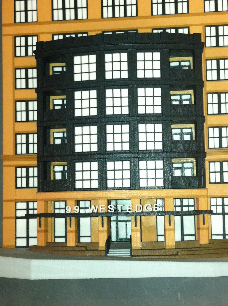 "99 West Edge Facade, 10"" x 8"" x 3.5"",  Courtesy of The Preston Partnership, printed using a 3D Systems Color Jet Printer"