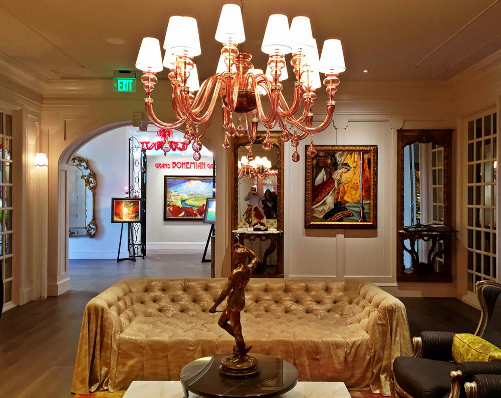 A signature feature of the Grand Bohemian Hotels is the gallery off of the lobby.