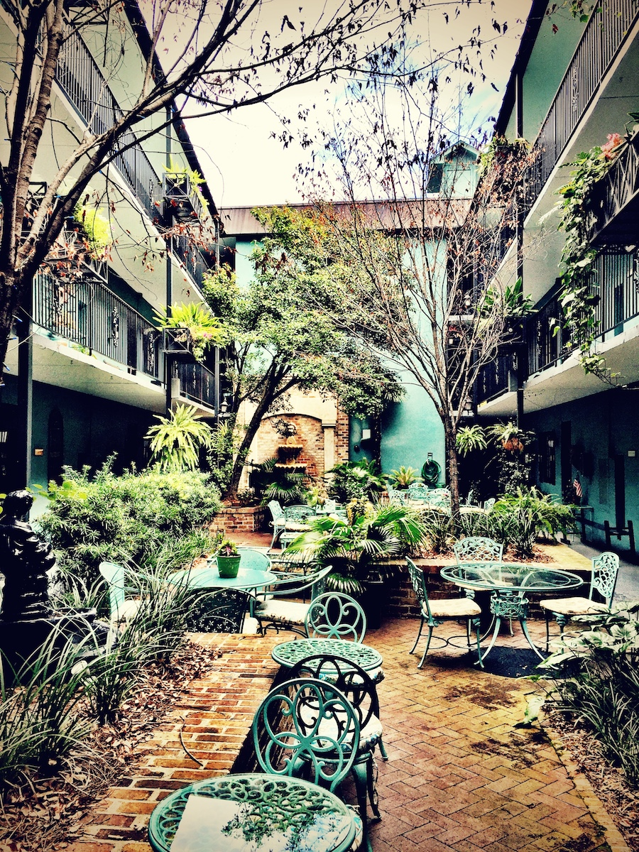 The courtyard at the Indigo Inn.