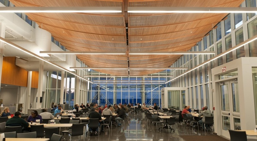 The Cafeteria at Boeing, Charleston, SC.  Architecture by McMillan Pazdan Smith Architects.  Project Manager/ Project Architect: Eddie Bello.  Photo credit to Gary Coleman Photography.  This project is in the center of campus and since the campus is off-limits to visitors, no one gets to see this building.