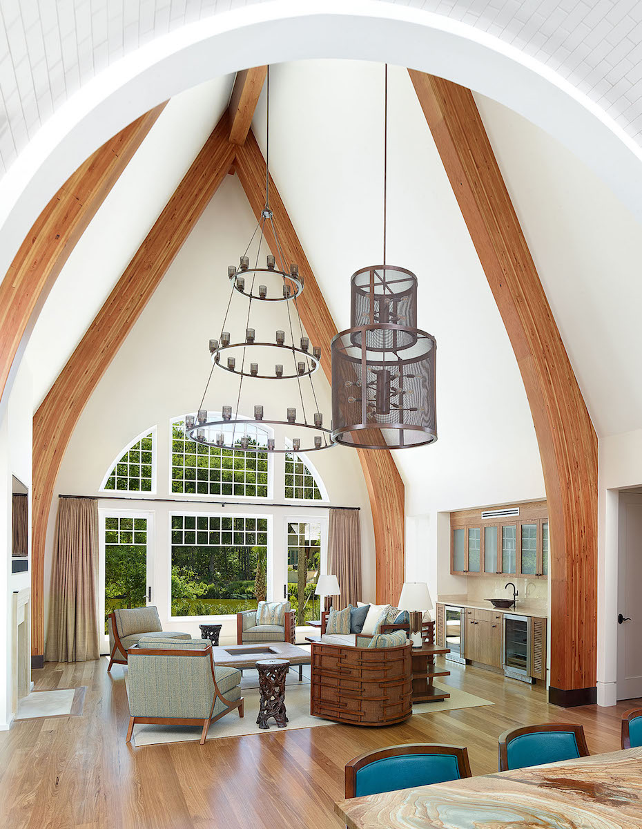Photo   of the great room in the Cassique Country Home by Cumulus Architecture + Design LLC.