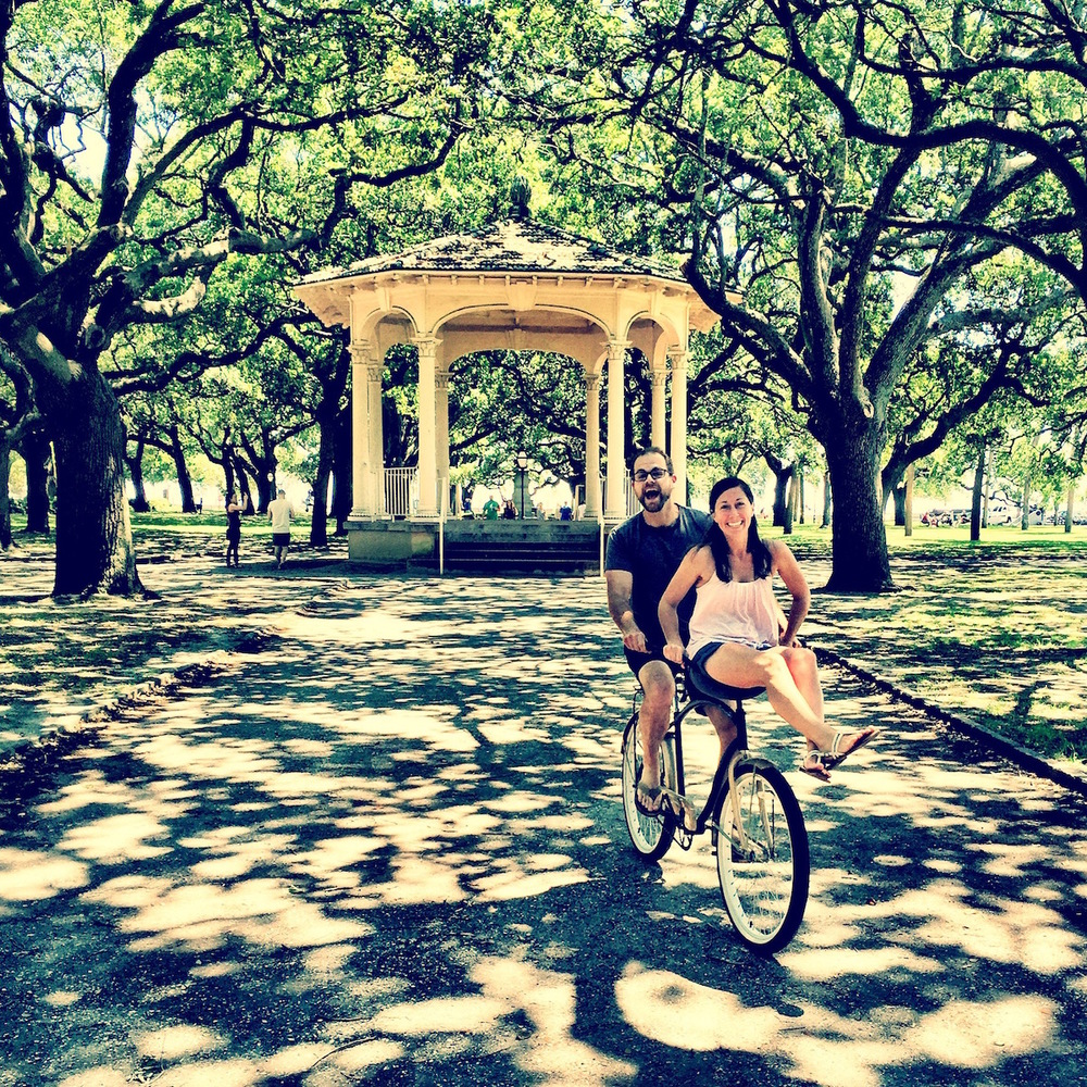 Having some fun at Charleston's White Point Garden.   This picture has a lot of meaning to me.  Danielle and I did this same pose in our engagement photos over 5 years ago.  Glad we still got it!