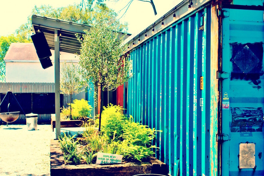 The shipping container stage at Home Team BBQ.