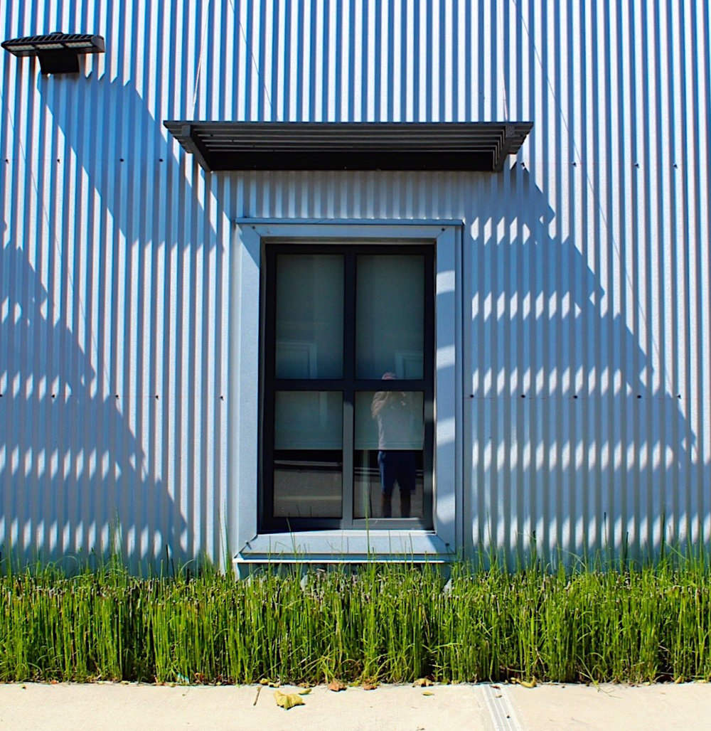 The corrugated metal creates an interesting shadow pattern.