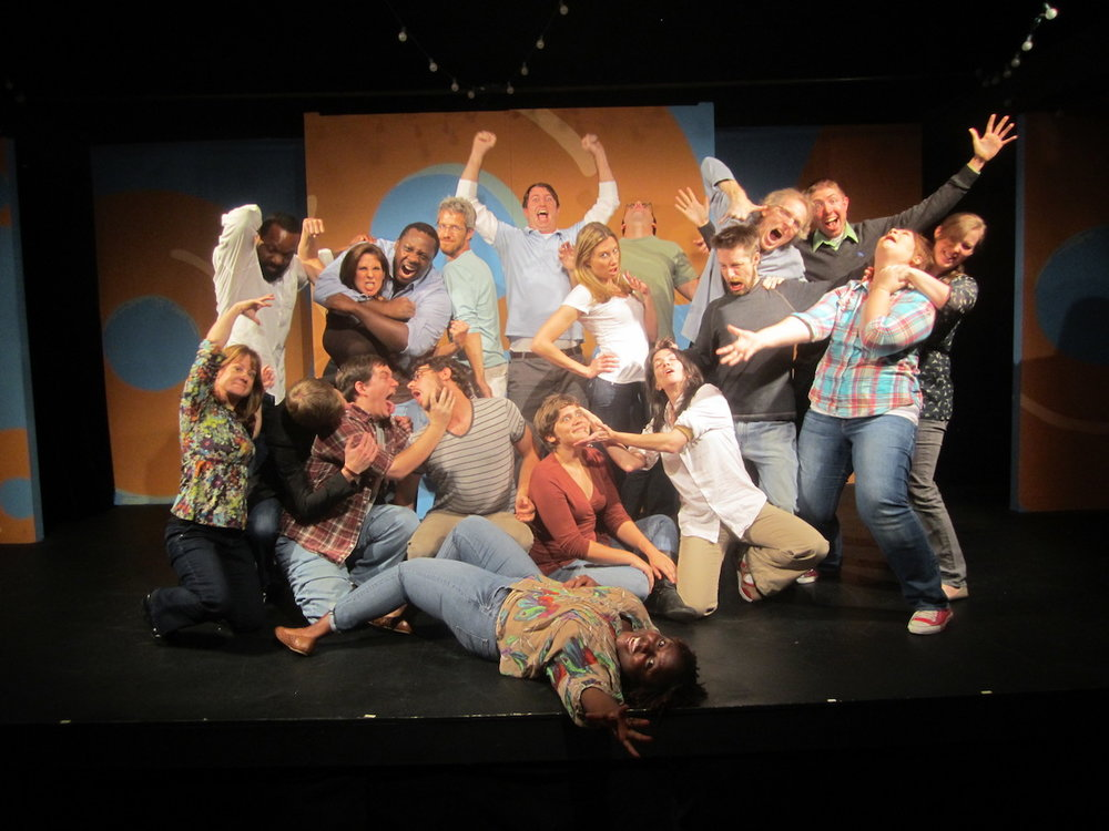 Level 4 improv class.  October 2012.  Apparently the rapture is my go-to improv photo pose.  That is me in the green shirt back center.