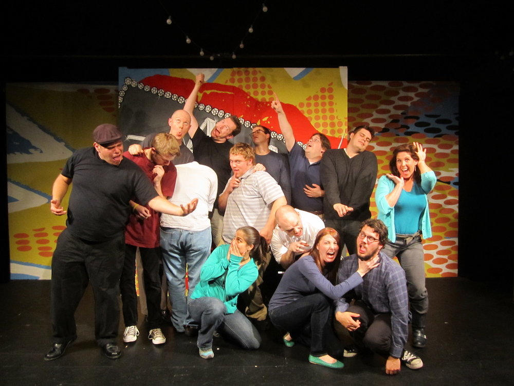 Level 2 improv class, December 2011.  Sleeping in the back center.