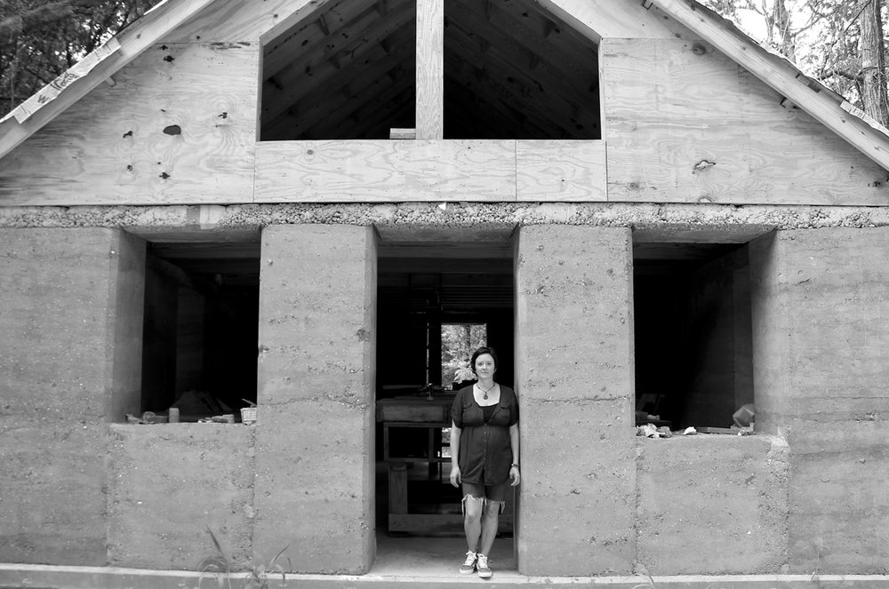 Architect April Magill of Root Down Designs at the Walters Residence.  Charleston's first rammed earth house.