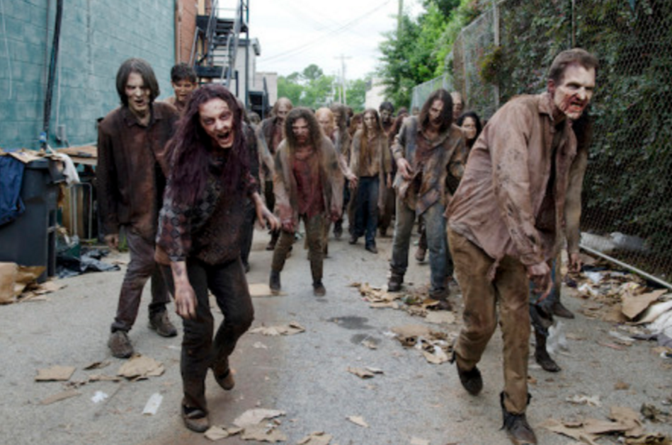 Just a gaggle of walkers from The Walking Dead.  Photo Credit:  UndeadWalking.com