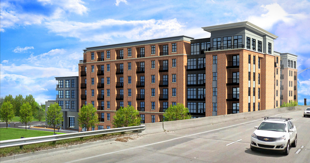A rendering of the 511 Meeting Street Apartment Building.  This project will be one of the first buildings people see as they enter the City of Charleston from the north.  Construction should begin in early 2017.