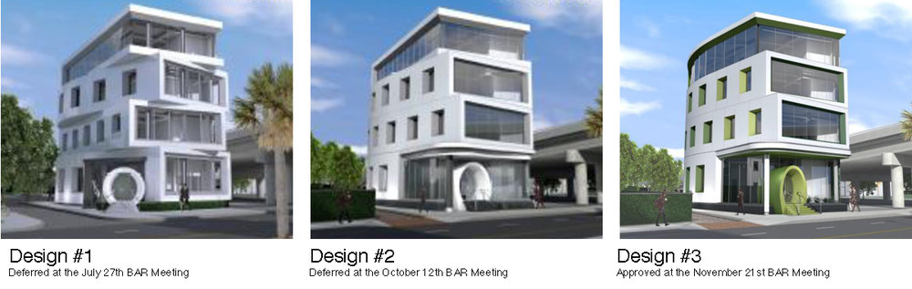 Renderings of new office building at 663 King Street by Neil Stevenson Architects.  Rendering courtesy of  City of Charleston Board of Architectural Review Website .